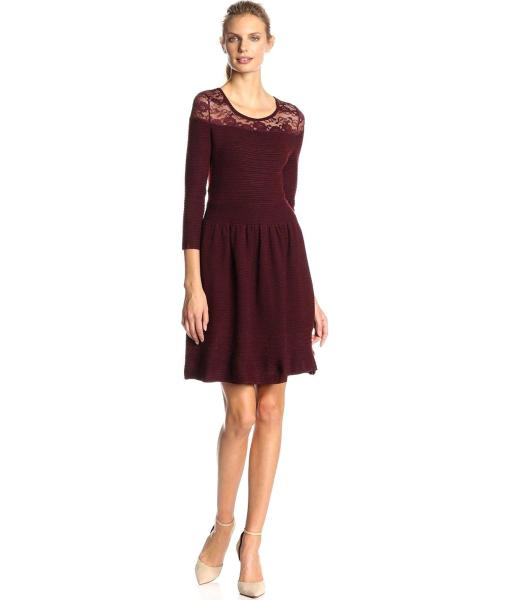 Jessica Simpson Opera Sweater Dress in Winetasting Lace