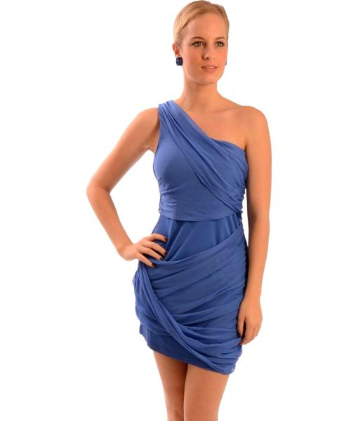 alice + olivia Silk Asymmetric One Shoulder Cocktail Eve Dress L Cobalt