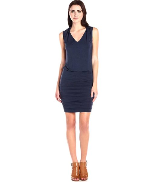 Velvet by Graham & Spencer Modal Knit Ruched Skirt Dress in Nino