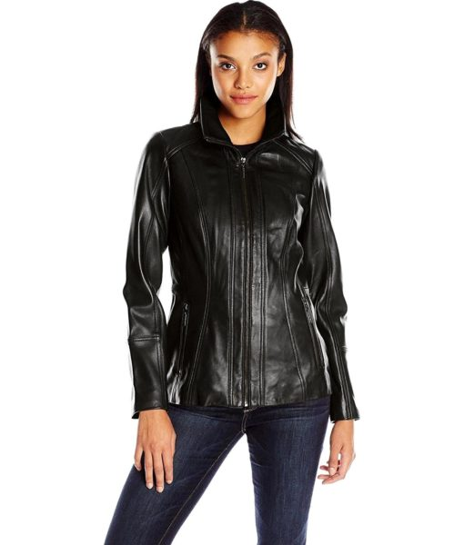 Anne Klein Anne Klein Women's Zip Front Leather Jacket with Convertible Collar in Black