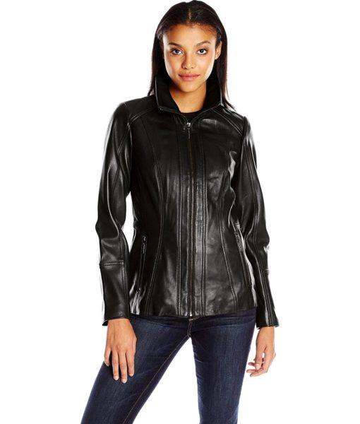 Anne Klein Anne Klein Women's Zip Front Leather Jacket with Convertible Collar in Black