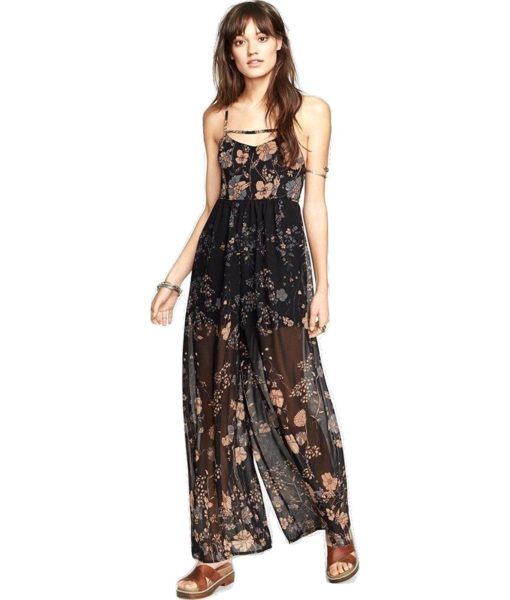 Free People Meadow Rue Jumpsuit Midnight Combo