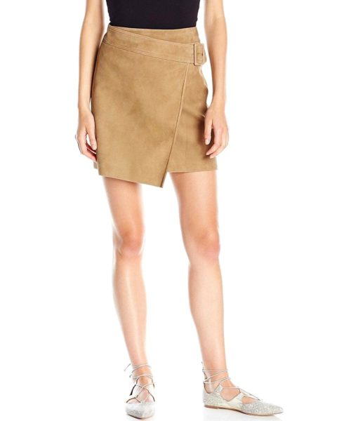 Vince Belted Suede Skirt in Taupe