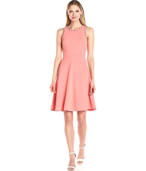 Ivanka Trump Scuba Dress with Grommets in Coral