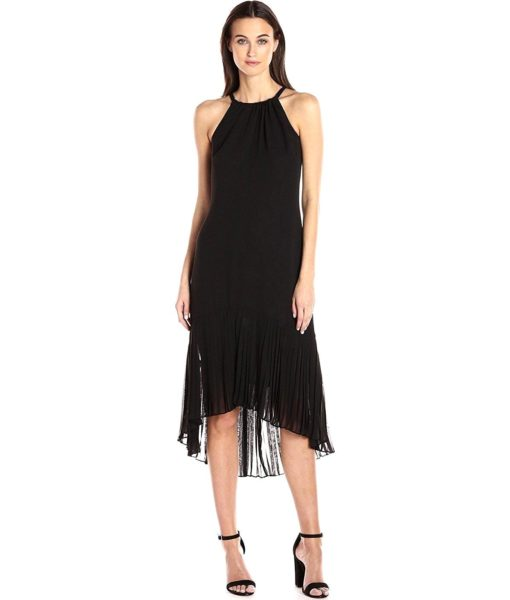 Vince Camuto Chiffon Halter Pleat Dress Black