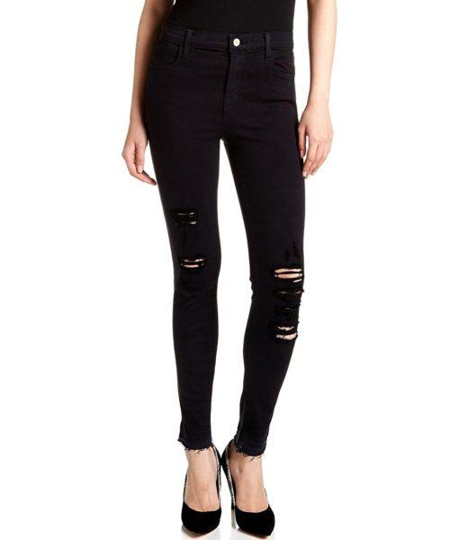J Brand Jeans Alana High Rise Crop Jeans, Demented Black