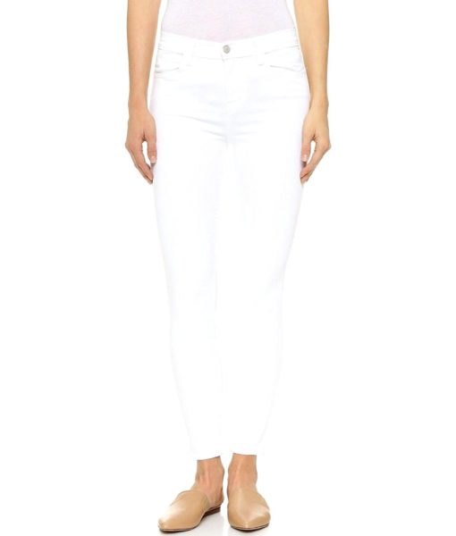 J Brand Jeans High Rise Alana Crop Jeans in Blanc