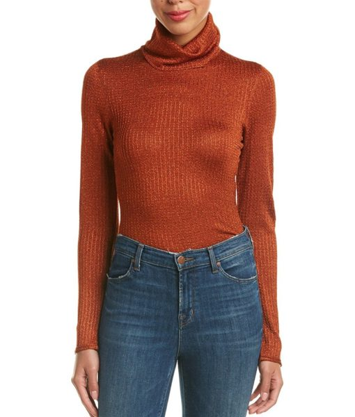 alice + olivia Billi Slim Turtleneck Sweater in Metallic