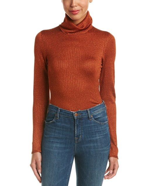 alice + olivia Billi Slim Turtleneck Sweater in Metallic