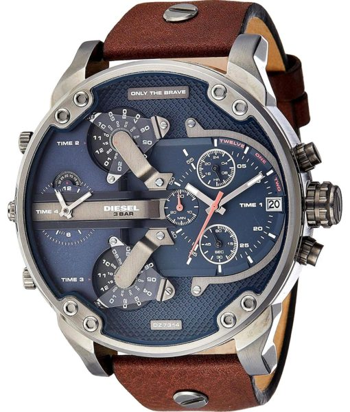 Diesel DZ7314 Mr Daddy 2.0 Gunmetal Brown Leather Watch