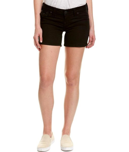 True Religion Basic Midcut Off Denim Shorts w/Flaps in Black