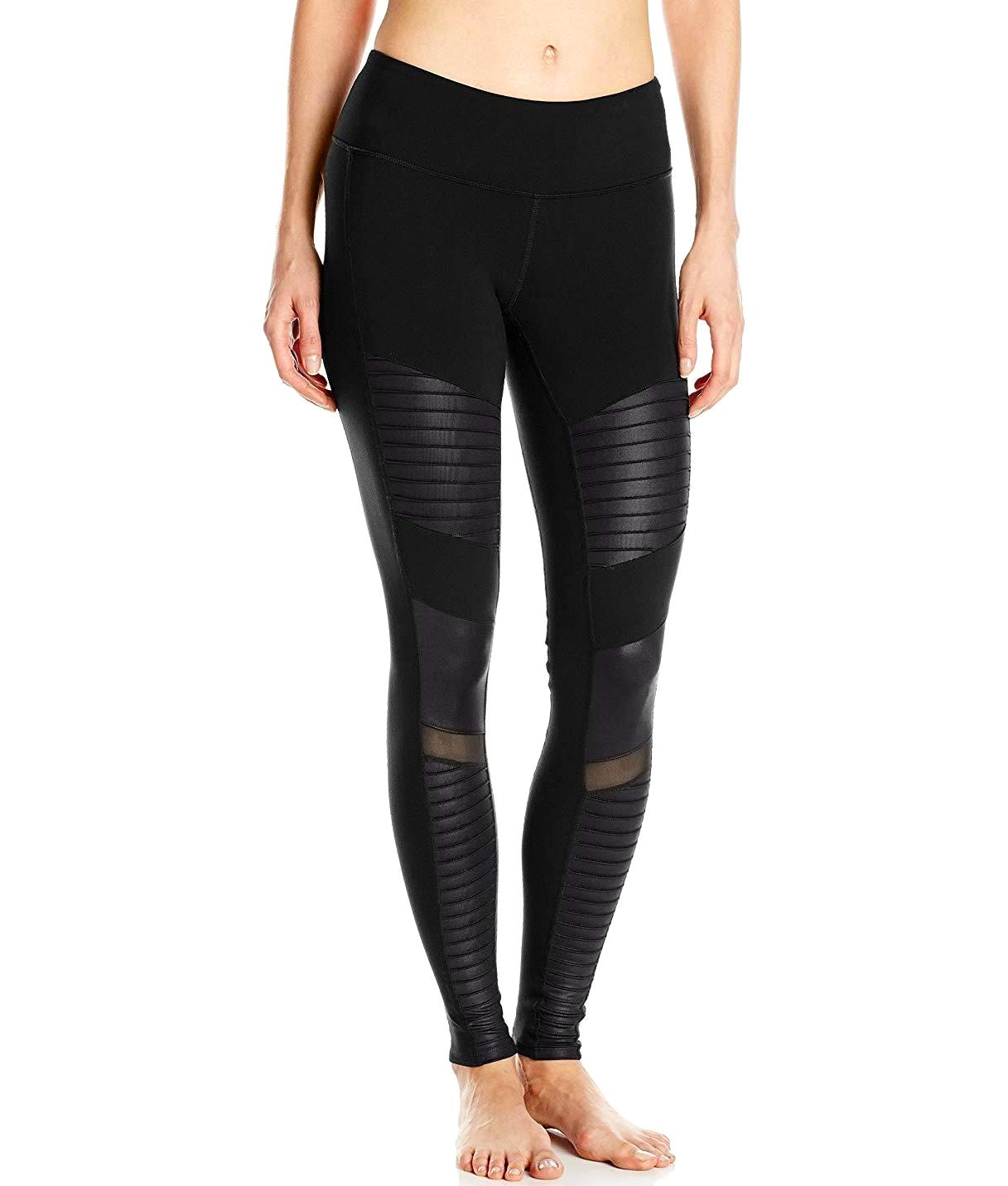e79bb3d9f0b767 Moto Legging Pants in Black/Black Glossy - Authentic Designer Clothes