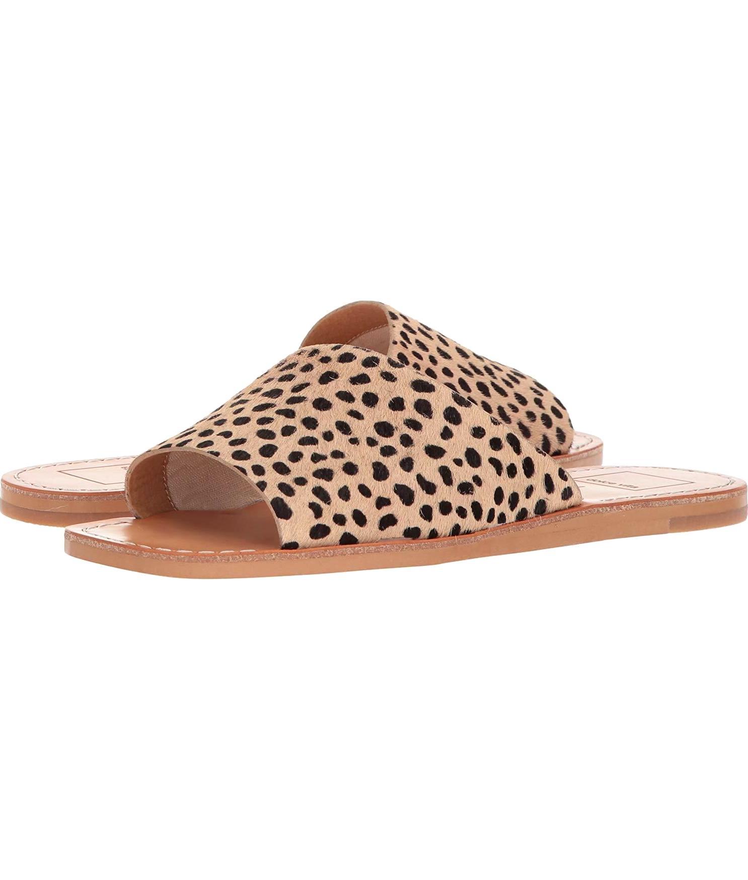 Cato Slide Sandal in Leopard Calf Hair