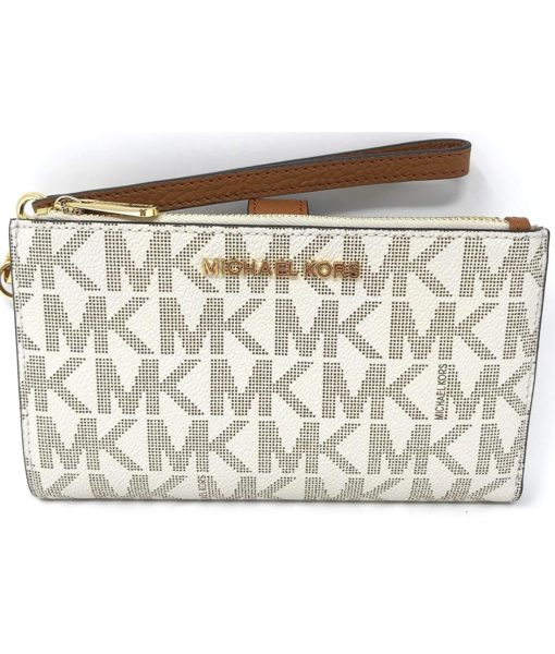 Michael Kors Jet Set Travel double Zip Wristlet in Vanilla/Acorn