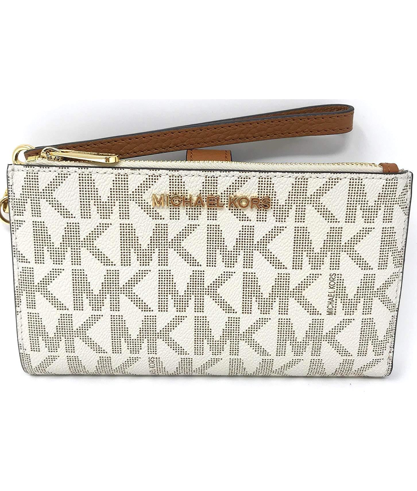 Jet Set Travel Double Zip Wristlet In Vanilla Acorn Authentic Michael Kors Jetset Lugagge