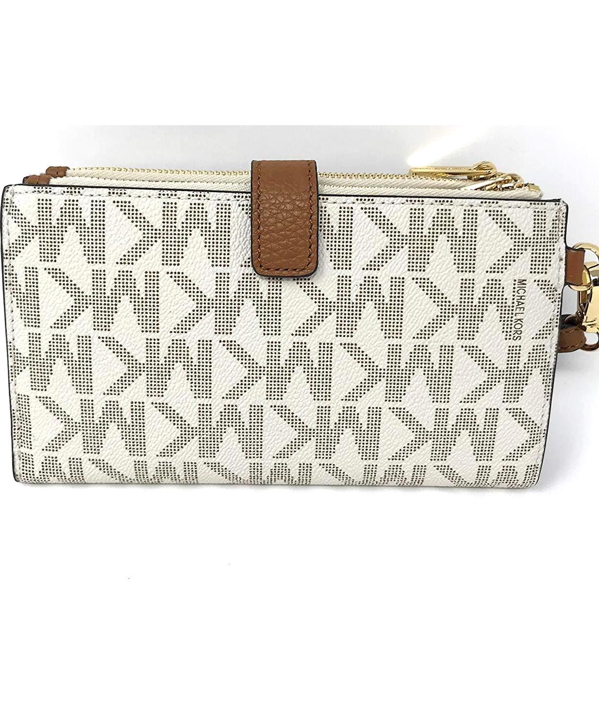 9f6eaa1216536 Jet Set Travel double Zip Wristlet in Vanilla Acorn - Authentic Designer  Clothes