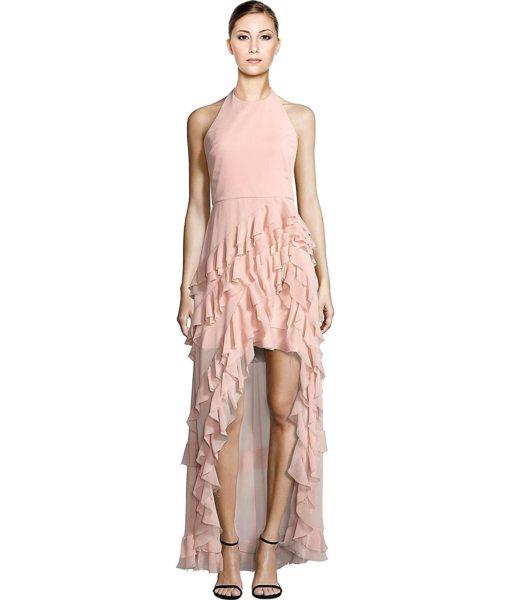 alice + olivia Carma Ruffle Hi-Lo Halter Evening Gown Dress