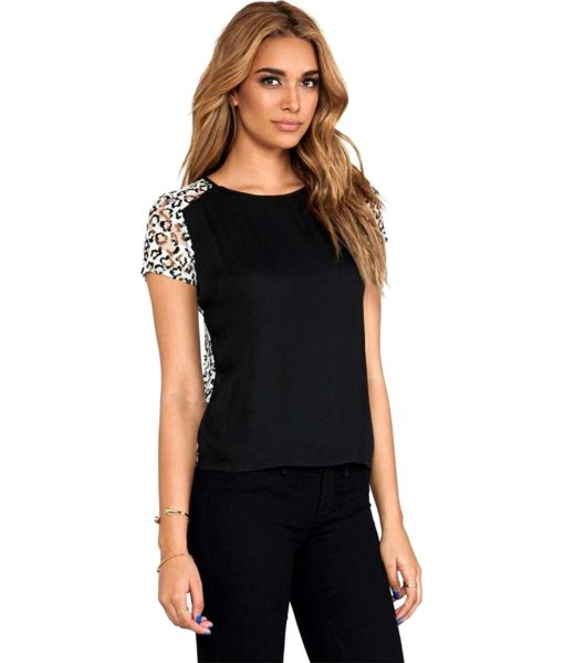 Generation Love Mona Leopard Print Lace Back Top in Black