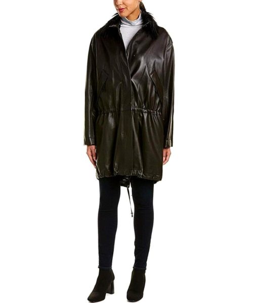 Helmut Lang Leather Parka in Black