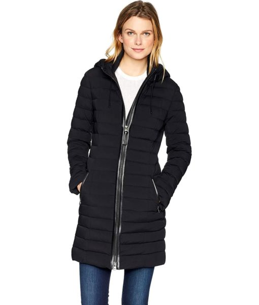 Mackage Calna Thigh Length Hooded Light Weight Down Jacket in Black