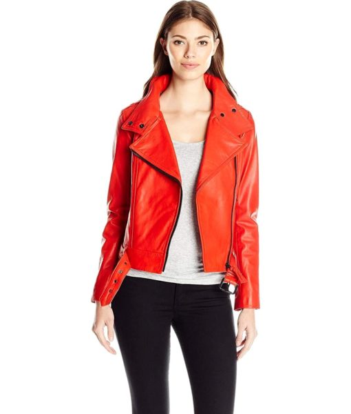 Mackage Hania Belted Lamb Skin Leather Jacket in Flame