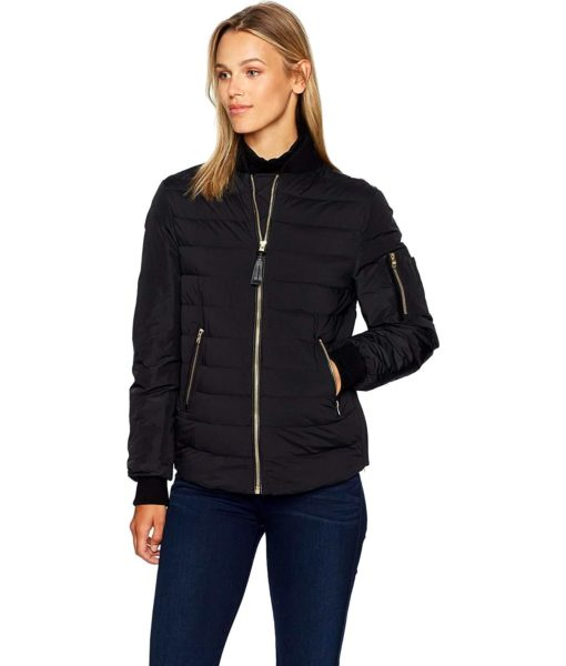 Mackage Margo-d Hip Length Light Weight Down Bomber Jacket in Black